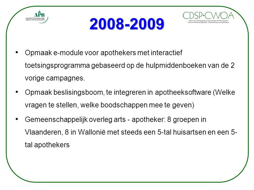 2008-2009 Opmaak e-module voor apothekers met interactief toetsingsprogramma gebaseerd op de hulpmiddenboeken van de 2 vorige campagnes.
