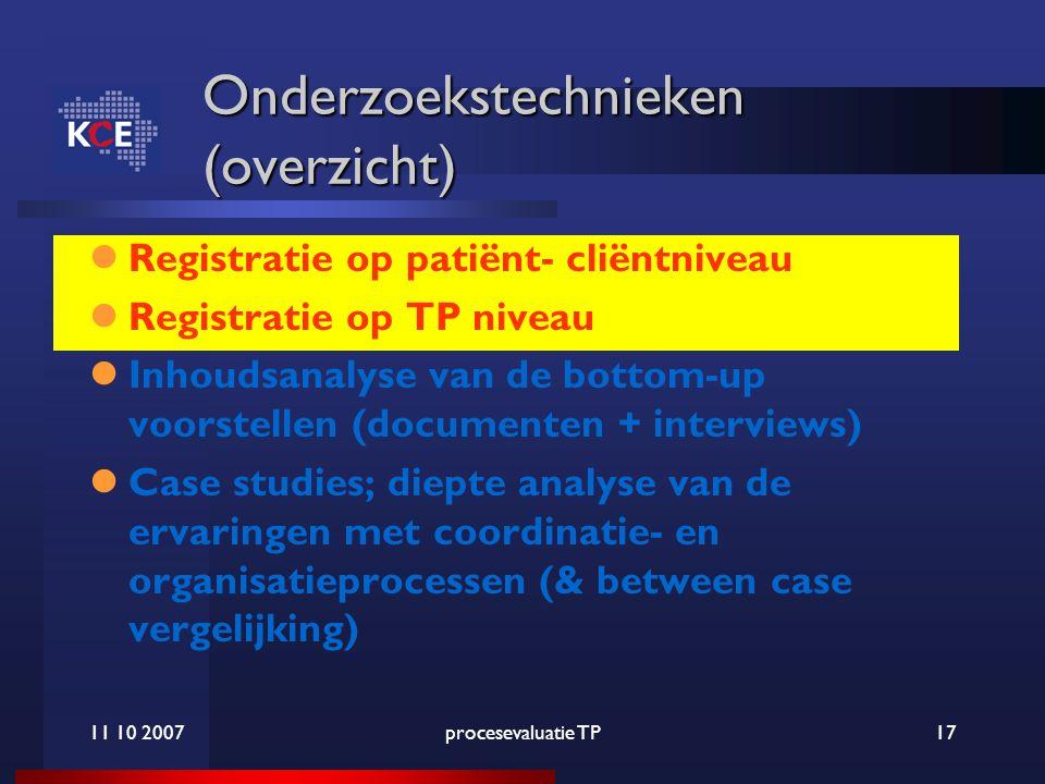 11 10 2007procesevaluatie TP17 Onderzoekstechnieken (overzicht) Registratie op patiënt- cliëntniveau Registratie op TP niveau Inhoudsanalyse van de bottom-up voorstellen (documenten + interviews) Case studies; diepte analyse van de ervaringen met coordinatie- en organisatieprocessen (& between case vergelijking)