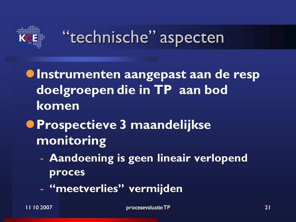 11 10 2007procesevaluatie TP21 technische aspecten technische aspecten Instrumenten aangepast aan de resp doelgroepen die in TP aan bod komen Prospectieve 3 maandelijkse monitoring -Aandoening is geen lineair verlopend proces - meetverlies vermijden