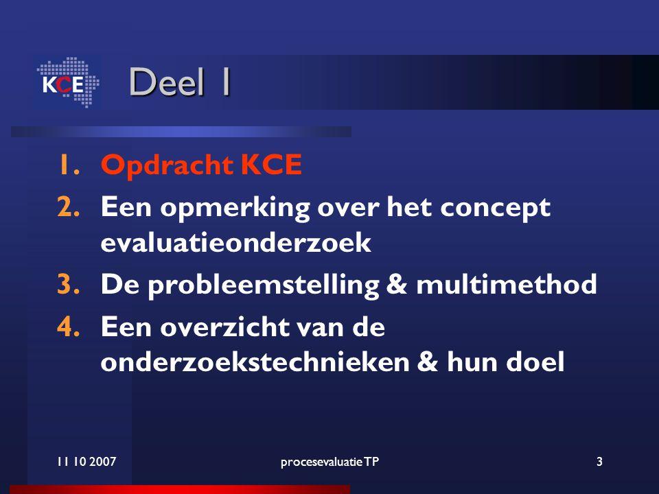 11 10 2007procesevaluatie TP3 Deel 1 1.Opdracht KCE 2.Een opmerking over het concept evaluatieonderzoek 3.De probleemstelling & multimethod 4.Een overzicht van de onderzoekstechnieken & hun doel