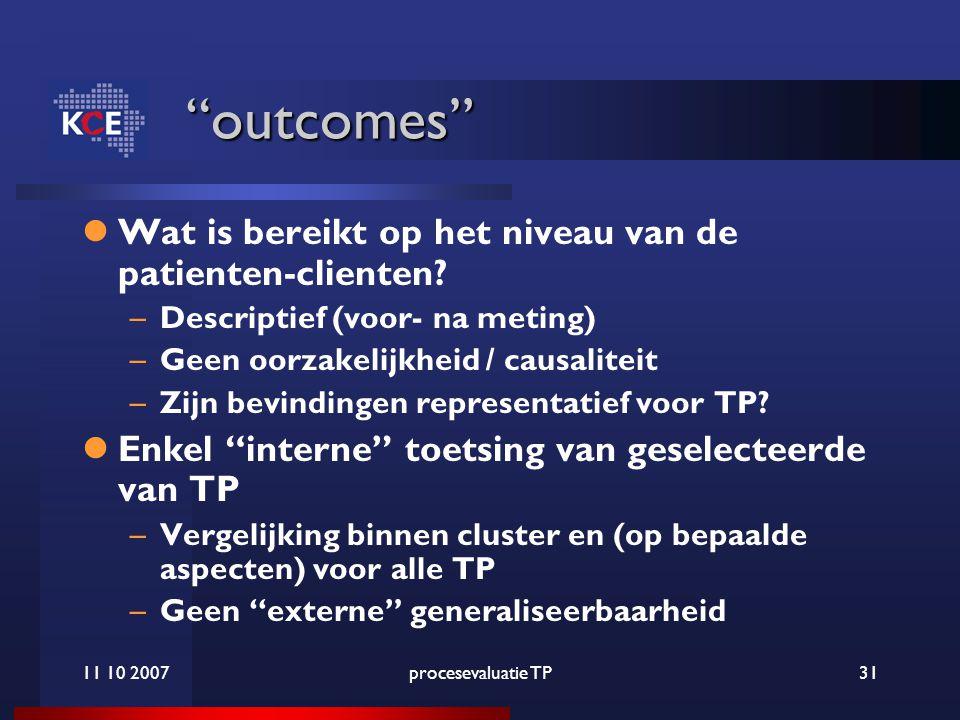 11 10 2007procesevaluatie TP31 outcomes Wat is bereikt op het niveau van de patienten-clienten.