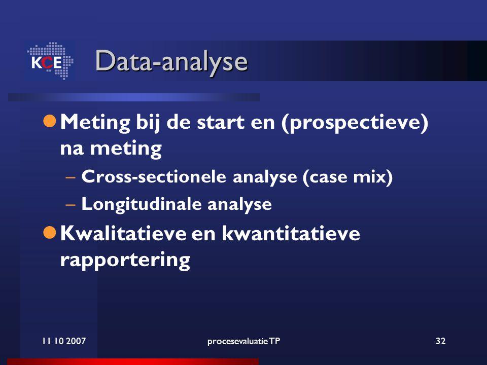 11 10 2007procesevaluatie TP32 Data-analyse Meting bij de start en (prospectieve) na meting –Cross-sectionele analyse (case mix) –Longitudinale analyse Kwalitatieve en kwantitatieve rapportering