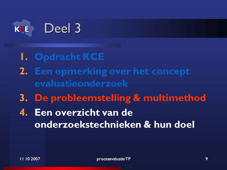 11 10 2007procesevaluatie TP9 Deel 3 1.Opdracht KCE 2.Een opmerking over het concept evaluatieonderzoek 3.De probleemstelling & multimethod 4.Een overzicht van de onderzoekstechnieken & hun doel