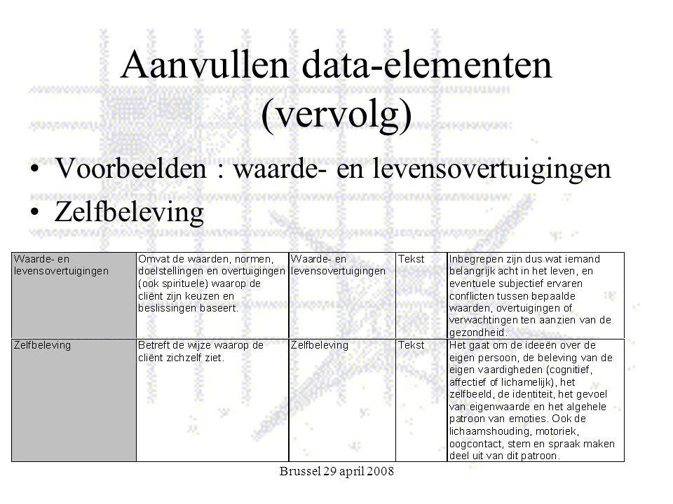 Brussel 29 april 2008 Aanvullen data-elementen (vervolg) Voorbeelden : waarde- en levensovertuigingen Zelfbeleving