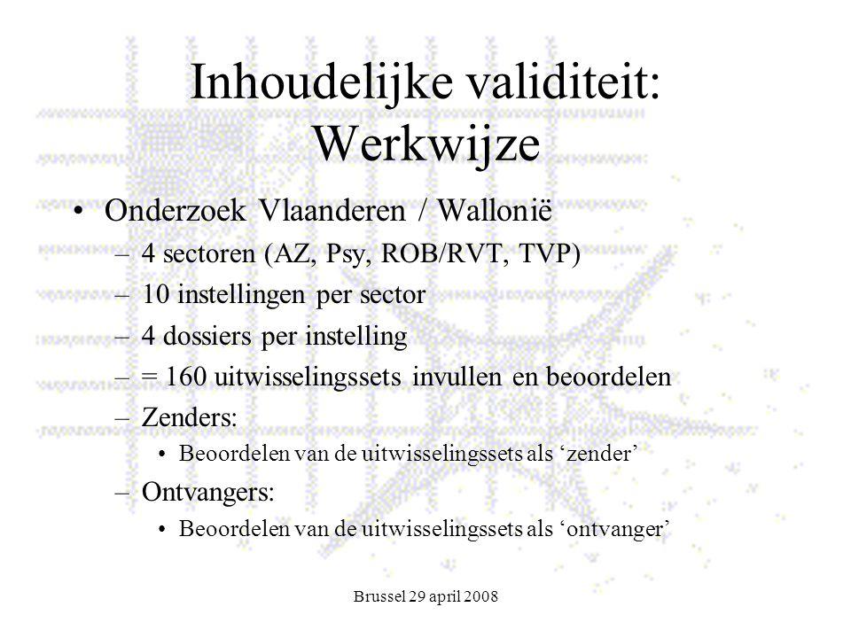 Brussel 29 april 2008 Inhoudelijke validiteit: Werkwijze Onderzoek Vlaanderen / Wallonië –4 sectoren (AZ, Psy, ROB/RVT, TVP) –10 instellingen per sector –4 dossiers per instelling –= 160 uitwisselingssets invullen en beoordelen –Zenders: Beoordelen van de uitwisselingssets als 'zender' –Ontvangers: Beoordelen van de uitwisselingssets als 'ontvanger'