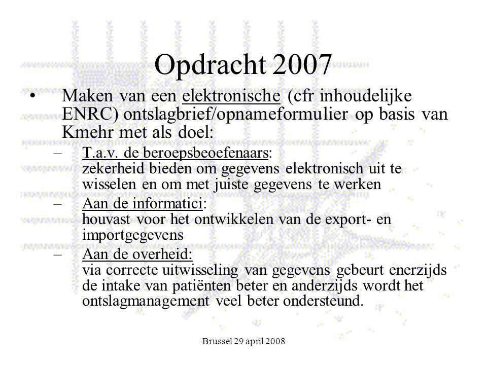 Brussel 29 april 2008 Opdracht 2007 Maken van een elektronische (cfr inhoudelijke ENRC) ontslagbrief/opnameformulier op basis van Kmehr met als doel: –T.a.v.