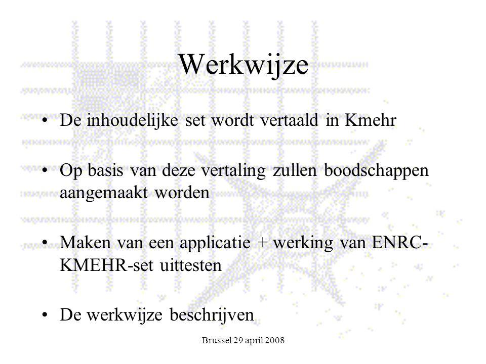 Brussel 29 april 2008 Werkwijze De inhoudelijke set wordt vertaald in Kmehr Op basis van deze vertaling zullen boodschappen aangemaakt worden Maken van een applicatie + werking van ENRC- KMEHR-set uittesten De werkwijze beschrijven
