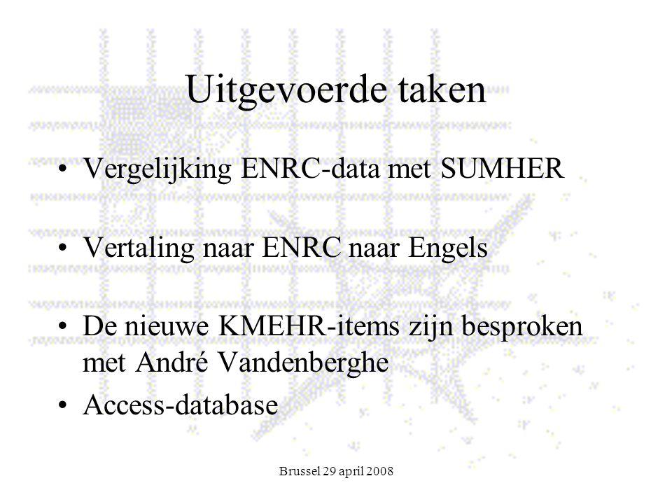 Brussel 29 april 2008 Uitgevoerde taken Vergelijking ENRC-data met SUMHER Vertaling naar ENRC naar Engels De nieuwe KMEHR-items zijn besproken met André Vandenberghe Access-database