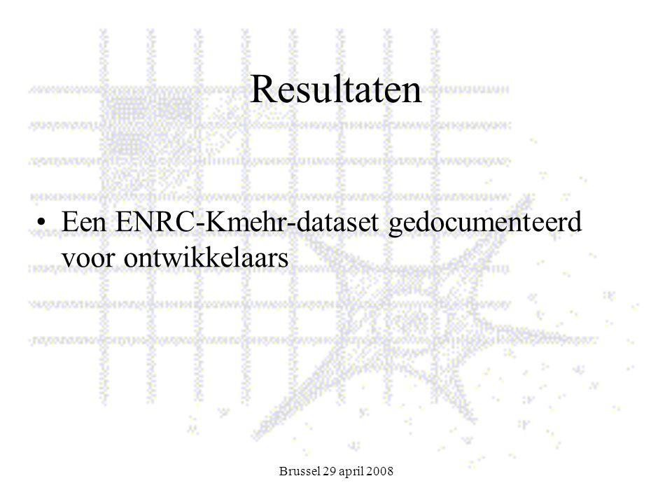 Brussel 29 april 2008 Resultaten Een ENRC-Kmehr-dataset gedocumenteerd voor ontwikkelaars