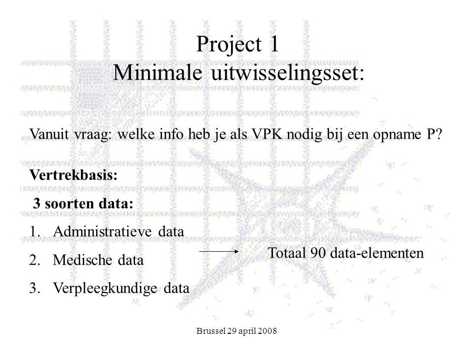 Brussel 29 april 2008 Project 1 Minimale uitwisselingsset: Vertrekbasis: 3 soorten data: 1.Administratieve data 2.Medische data 3.Verpleegkundige data Totaal 90 data-elementen Vanuit vraag: welke info heb je als VPK nodig bij een opname P