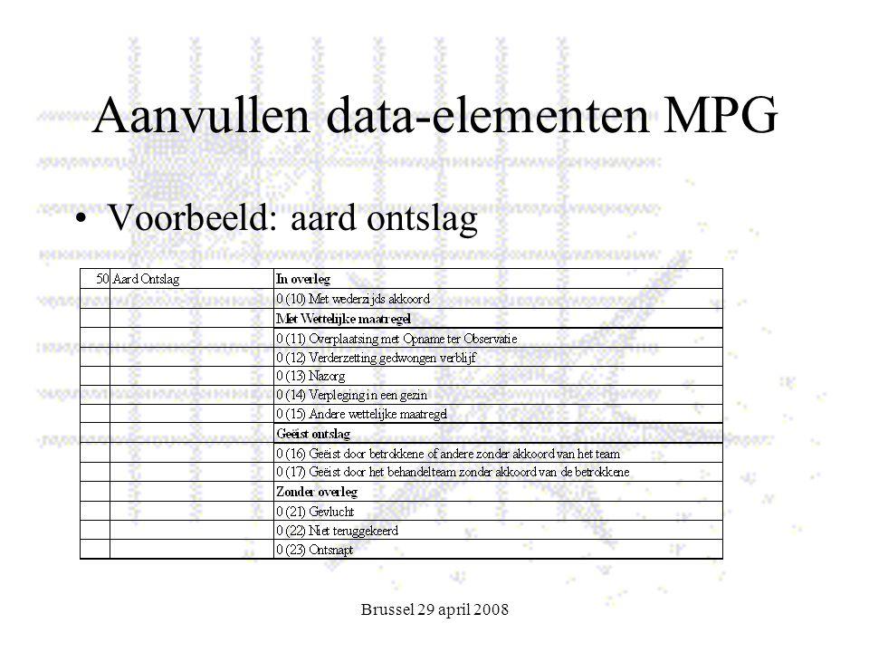 Brussel 29 april 2008 Aanvullen data-elementen MPG Voorbeeld: aard ontslag