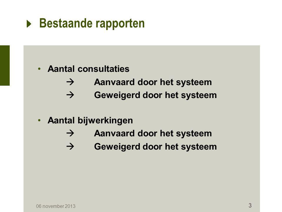 Bestaande rapporten Aantal consultaties  Aanvaard door het systeem  Geweigerd door het systeem Aantal bijwerkingen  Aanvaard door het systeem  Geweigerd door het systeem 06 november 2013 3
