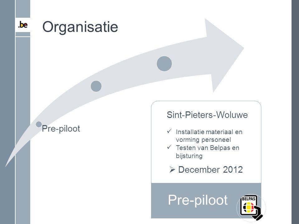 Pre-piloot Organisatie Sint-Pieters-Woluwe Installatie materiaal en vorming personeel Testen van Belpas en bijsturing  December 2012 Pre-piloot