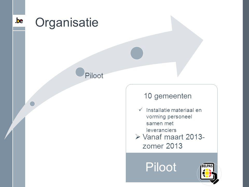 Piloot Organisatie Piloot 10 gemeenten Installatie materiaal en vorming personeel samen met leveranciers  Vanaf maart 2013- zomer 2013