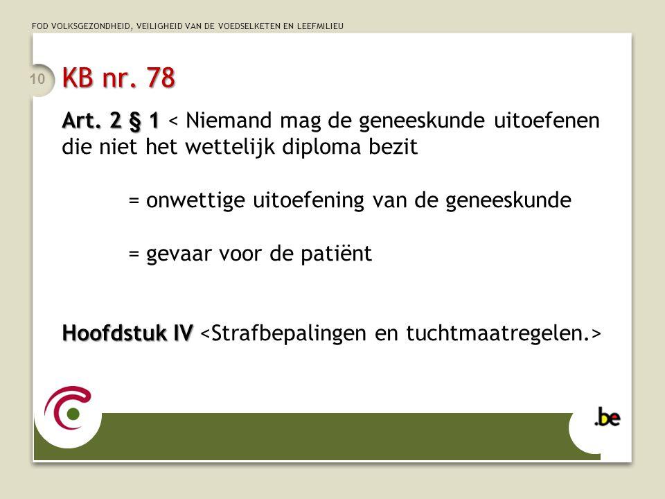 FOD VOLKSGEZONDHEID, VEILIGHEID VAN DE VOEDSELKETEN EN LEEFMILIEU KB nr. 78 Art. 2 § 1 Art. 2 § 1 < Niemand mag de geneeskunde uitoefenen die niet het