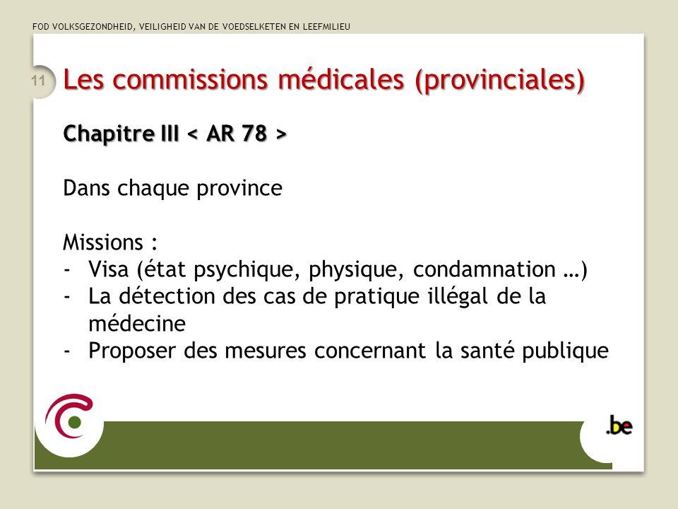 FOD VOLKSGEZONDHEID, VEILIGHEID VAN DE VOEDSELKETEN EN LEEFMILIEU Les commissions médicales (provinciales) Chapitre III Chapitre III Dans chaque provi