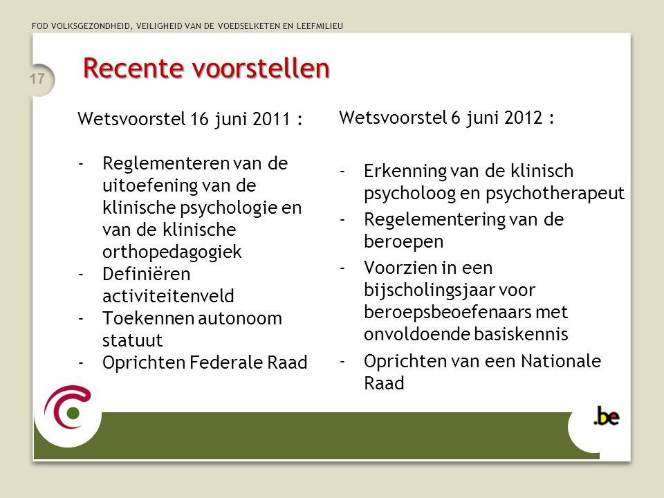 FOD VOLKSGEZONDHEID, VEILIGHEID VAN DE VOEDSELKETEN EN LEEFMILIEU Recente voorstellen Wetsvoorstel 6 juni 2012 : -Erkenning van de klinisch psycholoog