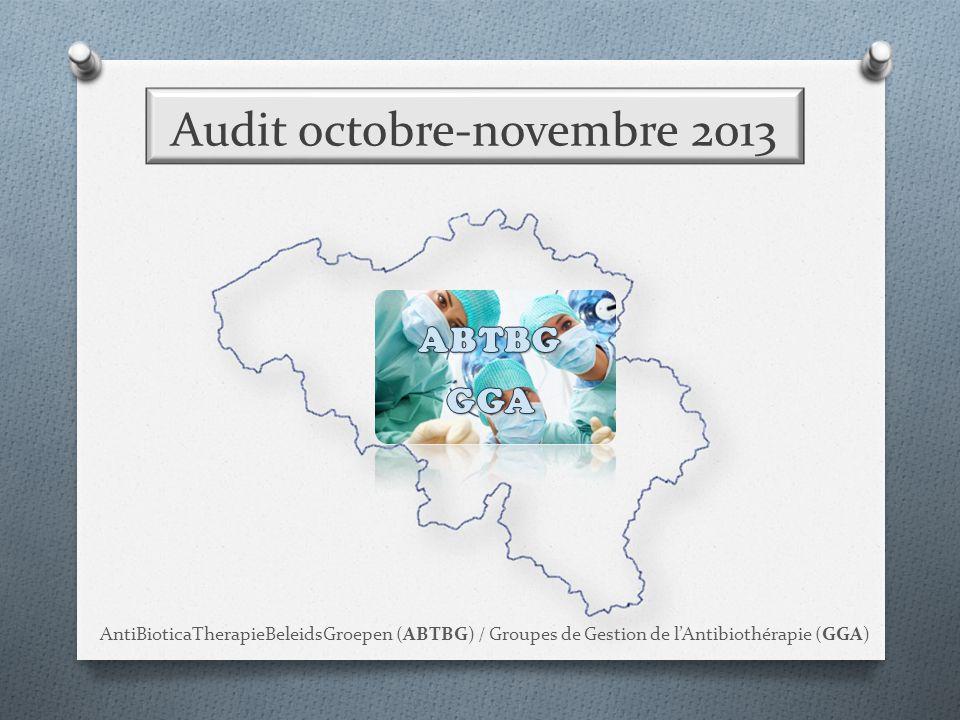 Audit octobre-novembre 2013 AntiBioticaTherapieBeleidsGroepen (ABTBG) / Groupes de Gestion de l'Antibiothérapie (GGA)