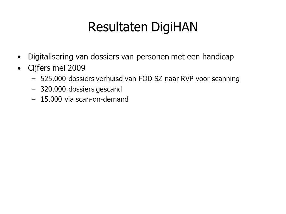 Digitalisering van dossiers van personen met een handicap Cijfers mei 2009 –525.000 dossiers verhuisd van FOD SZ naar RVP voor scanning –320.000 dossiers gescand –15.000 via scan-on-demand Resultaten DigiHAN
