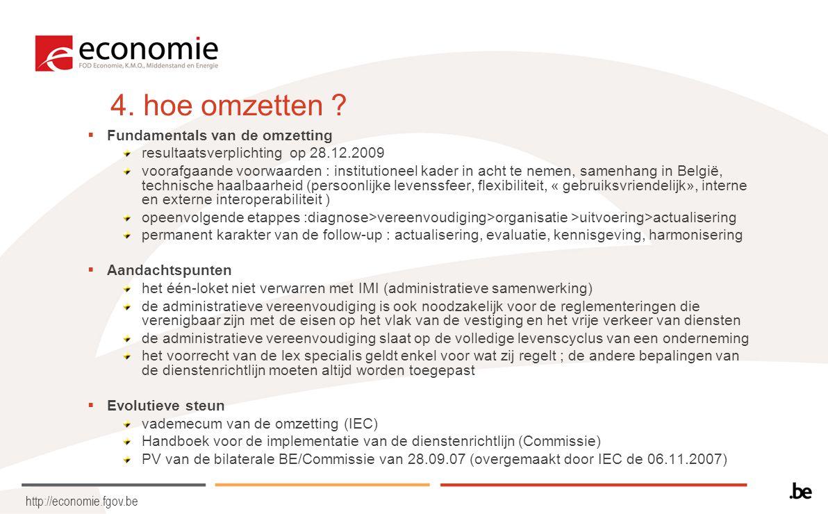 http://economie.fgov.be 4. hoe omzetten ?  Fundamentals van de omzetting resultaatsverplichting op 28.12.2009 voorafgaande voorwaarden : institutione