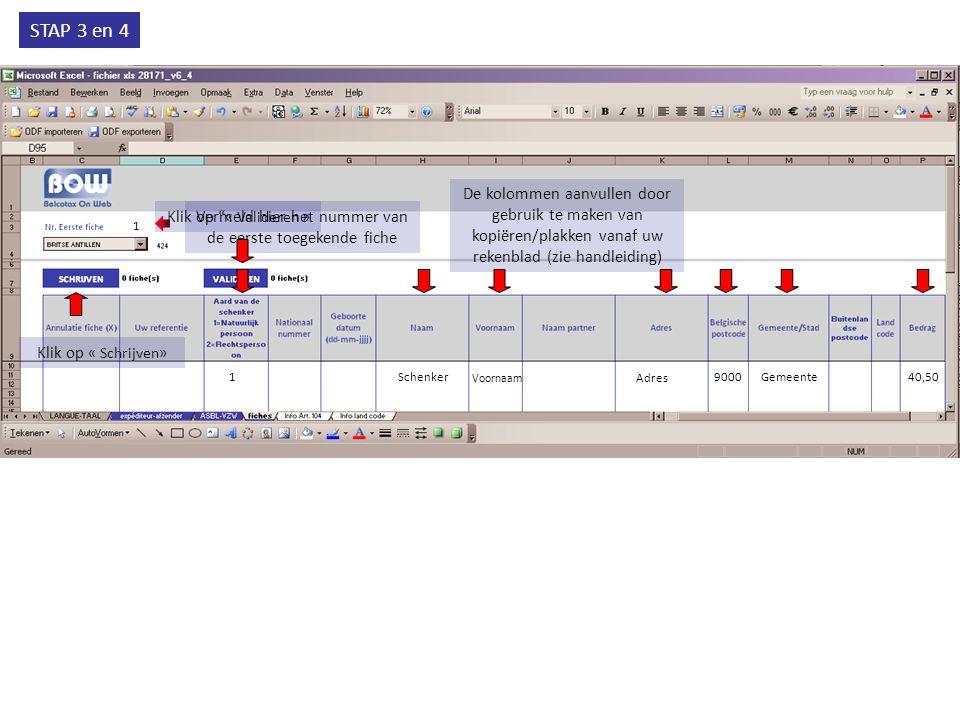 STAP 3 en 4 1 Vermeld hier het nummer van de eerste toegekende fiche De kolommen aanvullen door gebruik te maken van kopiëren/plakken vanaf uw rekenbl