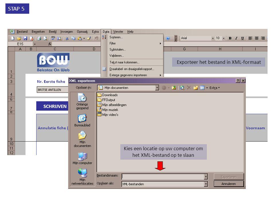 Exporteer het bestand in XML-formaat STAP 5 Kies een locatie op uw computer om het XML-bestand op te slaan
