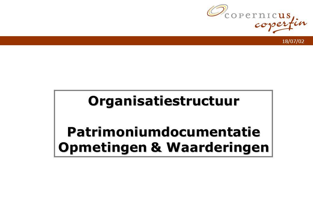 p. 1Titel van de presentatie 18/07/02 OrganisatiestructuurPatrimoniumdocumentatie Opmetingen & Waarderingen