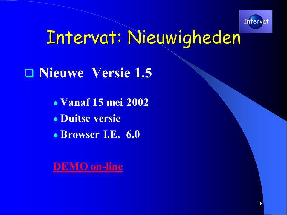 8 Intervat: Nieuwigheden  Nieuwe Versie 1.5 Vanaf 15 mei 2002 Duitse versie Browser I.E.