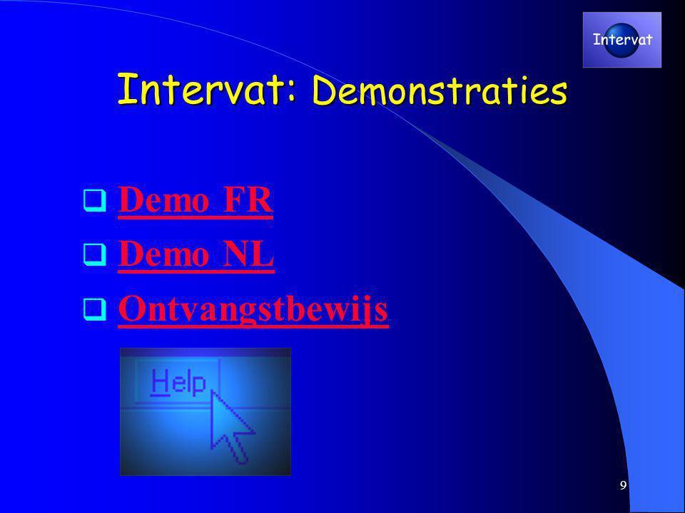 9 Intervat: Demonstraties  Demo FRDemo FR  Demo NLDemo NL  OntvangstbewijsOntvangstbewijs
