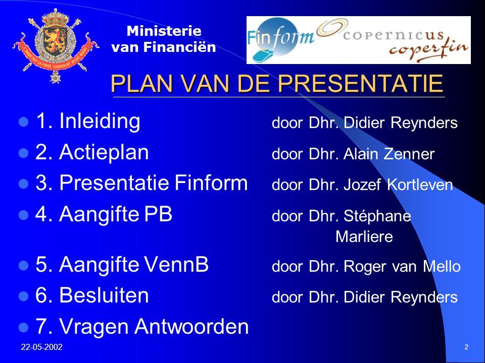 Ministerie van Financiën 22-05-2002 3 1.Inleiding Door Dhr.