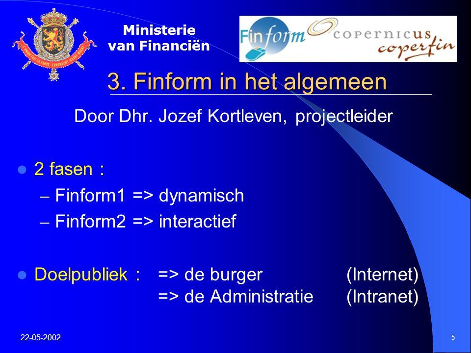 Ministerie van Financiën 22-05-2002 5 3. Finform in het algemeen Door Dhr.