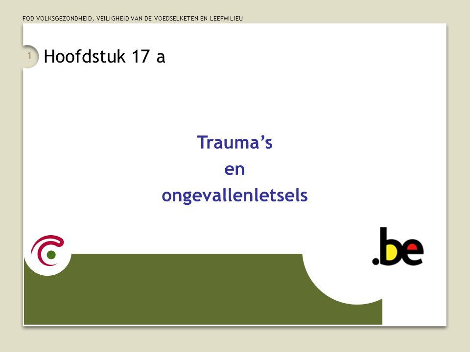 FOD VOLKSGEZONDHEID, VEILIGHEID VAN DE VOEDSELKETEN EN LEEFMILIEU 1 Hoofdstuk 17 a Trauma's en ongevallenletsels