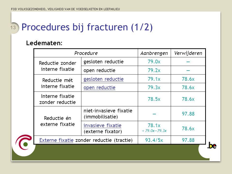 FOD VOLKSGEZONDHEID, VEILIGHEID VAN DE VOEDSELKETEN EN LEEFMILIEU 13 Procedures bij fracturen (1/2) Ledematen: ProcedureAanbrengenVerwijderen Reductie