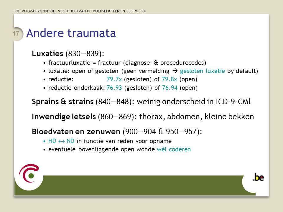 FOD VOLKSGEZONDHEID, VEILIGHEID VAN DE VOEDSELKETEN EN LEEFMILIEU 17 Andere traumata Luxaties (830—839): fractuurluxatie = fractuur (diagnose- & proce