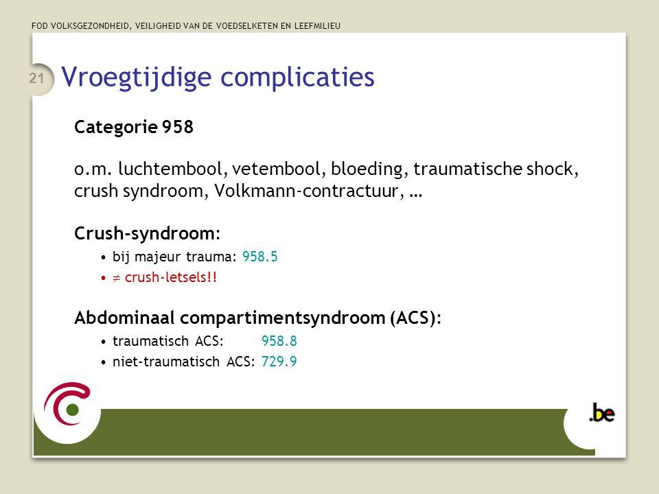 FOD VOLKSGEZONDHEID, VEILIGHEID VAN DE VOEDSELKETEN EN LEEFMILIEU 21 Vroegtijdige complicaties Categorie 958 o.m. luchtembool, vetembool, bloeding, tr