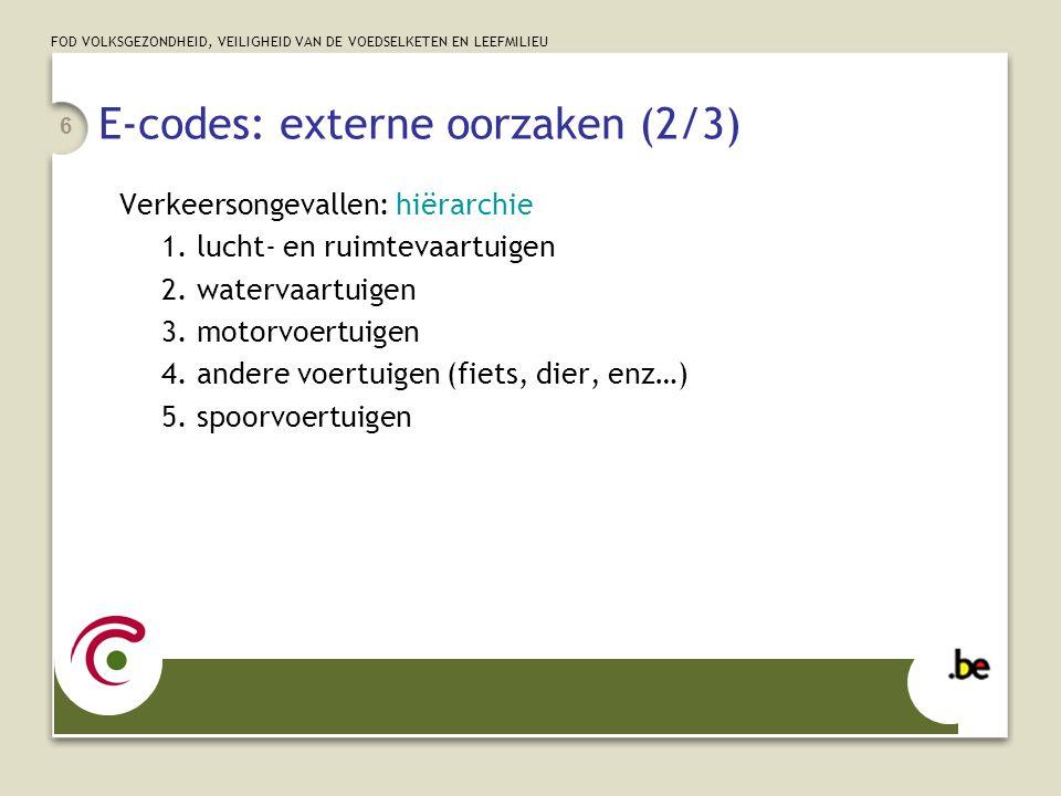 FOD VOLKSGEZONDHEID, VEILIGHEID VAN DE VOEDSELKETEN EN LEEFMILIEU 7 E-codes: externe oorzaken (3/3) Intentie / opzet: accidenteel suïcidaal:E950—E958 intentioneel:E960—E966 & E968.x Plaats: E849.x coderen als gekend  E849.9 brengt niets bij.