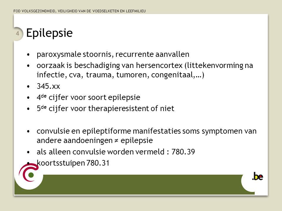 FOD VOLKSGEZONDHEID, VEILIGHEID VAN DE VOEDSELKETEN EN LEEFMILIEU 4 Epilepsie paroxysmale stoornis, recurrente aanvallen oorzaak is beschadiging van hersencortex (littekenvorming na infectie, cva, trauma, tumoren, congenitaal,…) 345.xx 4 de cijfer voor soort epilepsie 5 de cijfer voor therapieresistent of niet convulsie en epileptiforme manifestaties soms symptomen van andere aandoeningen ≠ epilepsie als alleen convulsie worden vermeld : 780.39 koortsstuipen 780.31