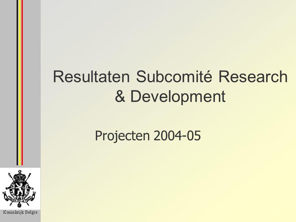 Resultaten Subcomité Research & Development Projecten 2004-05