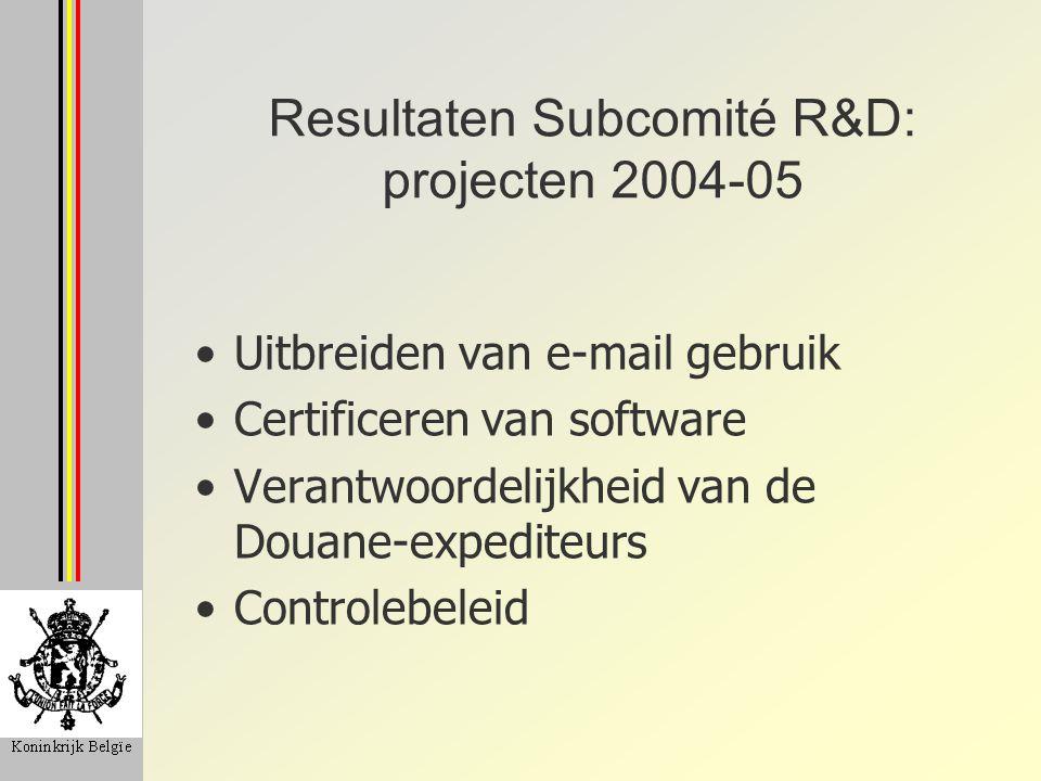 Resultaten Subcomité R&D: projecten 2004-05 Uitbreiden van e-mail gebruik Certificeren van software Verantwoordelijkheid van de Douane-expediteurs Con