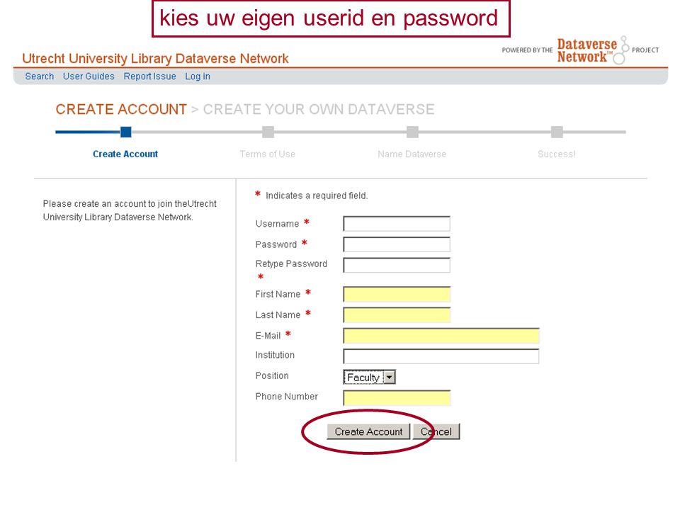 kies uw eigen userid en password
