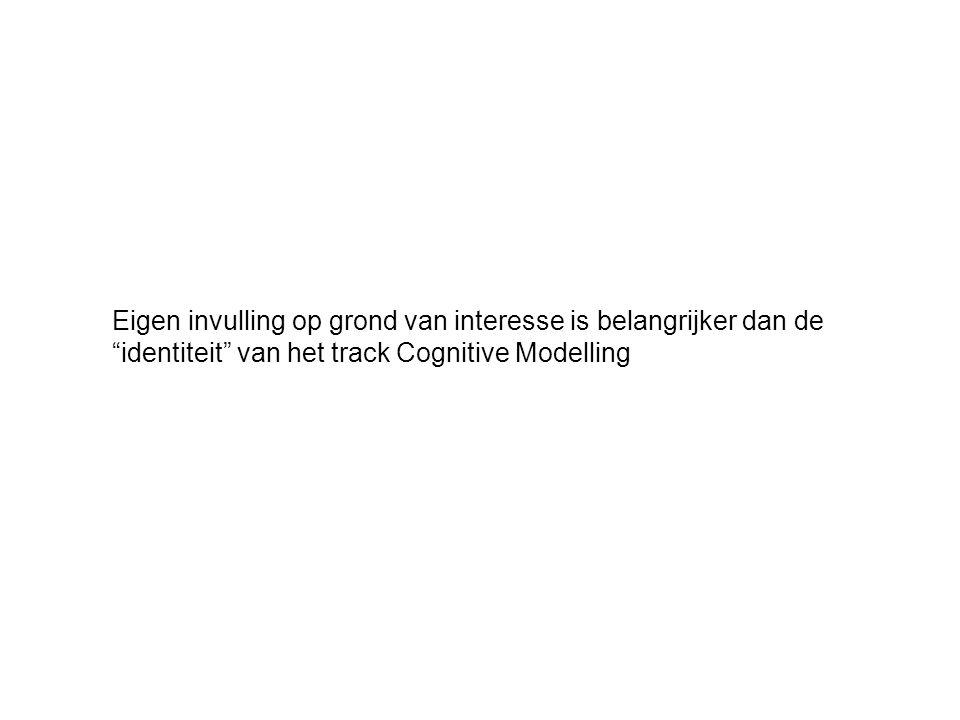 Eigen invulling op grond van interesse is belangrijker dan de identiteit van het track Cognitive Modelling