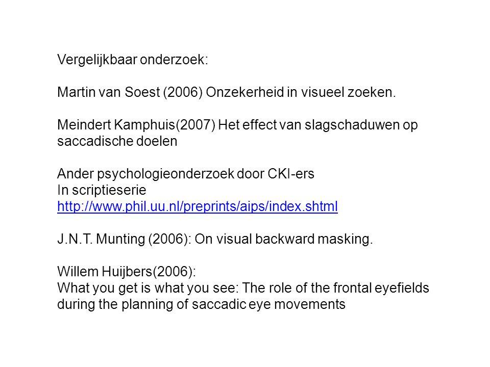 Vergelijkbaar onderzoek: Martin van Soest (2006) Onzekerheid in visueel zoeken.