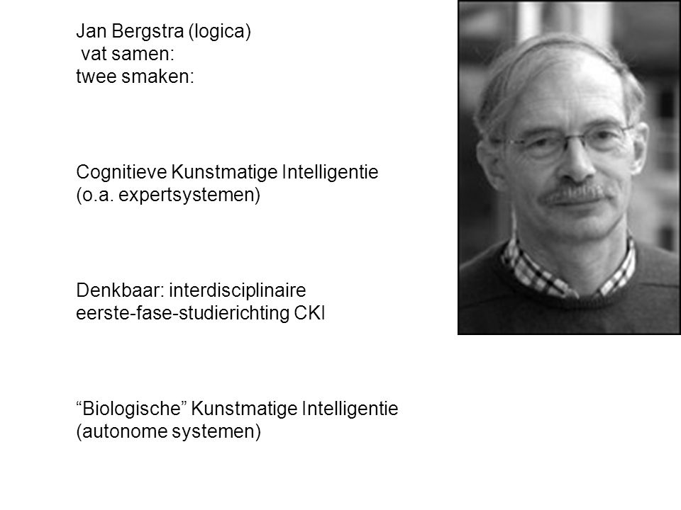 Jan Bergstra (logica) vat samen: twee smaken: Cognitieve Kunstmatige Intelligentie (o.a.