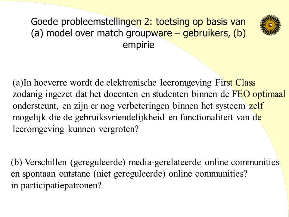 Goede probleemstellingen 2: toetsing op basis van (a) model over match groupware – gebruikers, (b) empirie (a)In hoeverre wordt de elektronische leero