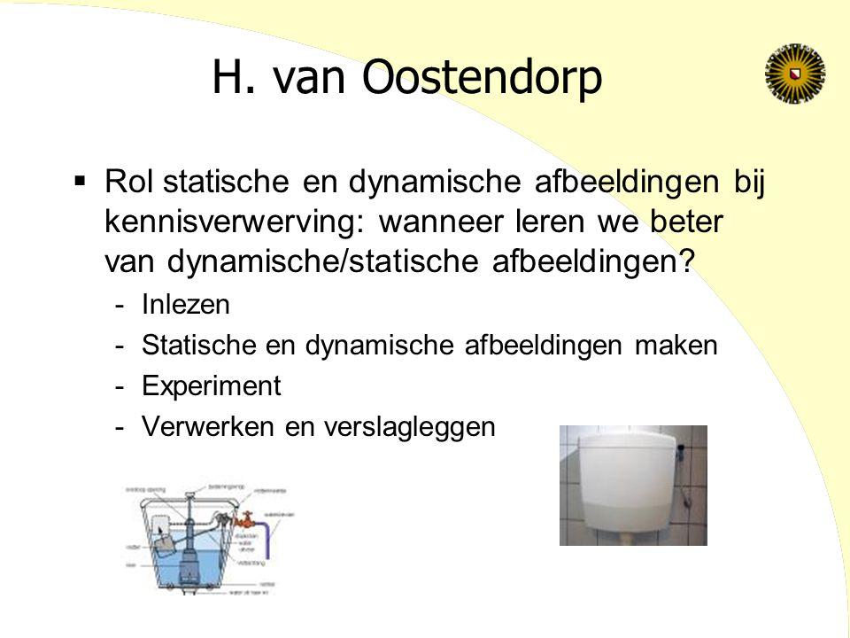 H. van Oostendorp  Rol statische en dynamische afbeeldingen bij kennisverwerving: wanneer leren we beter van dynamische/statische afbeeldingen? -Inle
