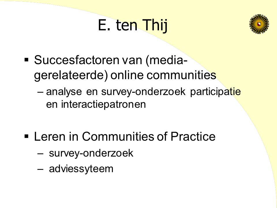 E. ten Thij  Succesfactoren van (media- gerelateerde) online communities –analyse en survey-onderzoek participatie en interactiepatronen  Leren in C