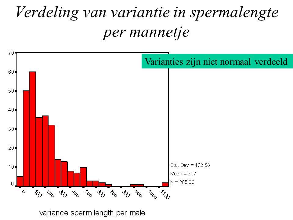 Verdeling van variantie in spermalengte per mannetje Varianties zijn niet normaal verdeeld