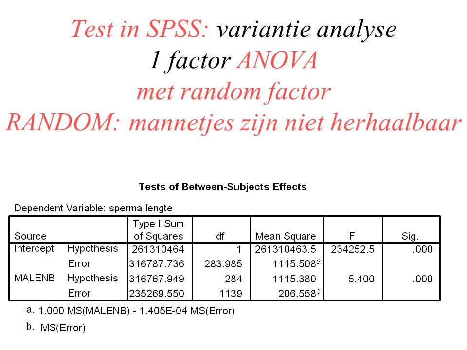 Test in SPSS: variantie analyse 1 factor ANOVA met random factor RANDOM: mannetjes zijn niet herhaalbaar