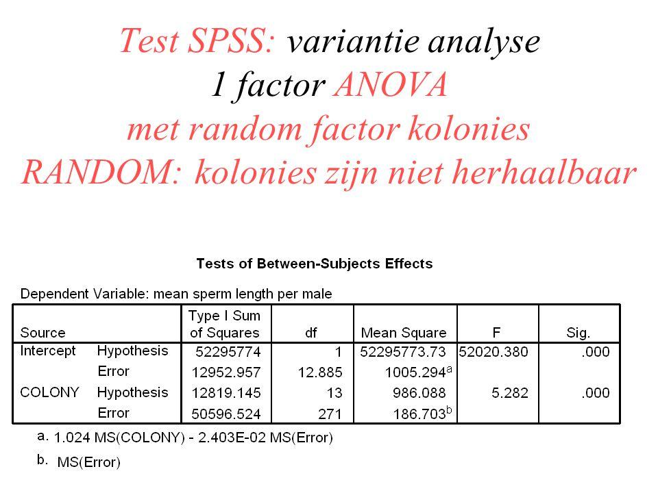 Test SPSS: variantie analyse 1 factor ANOVA met random factor kolonies RANDOM: kolonies zijn niet herhaalbaar