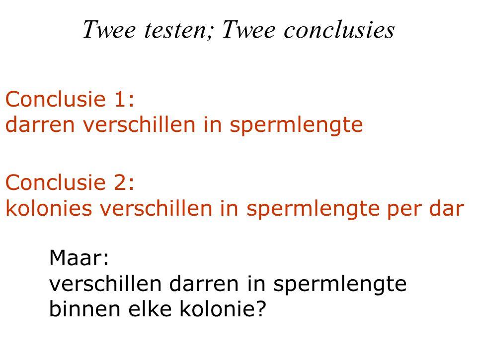 Twee testen; Twee conclusies Conclusie 2: kolonies verschillen in spermlengte per dar Conclusie 1: darren verschillen in spermlengte Maar: verschillen darren in spermlengte binnen elke kolonie?